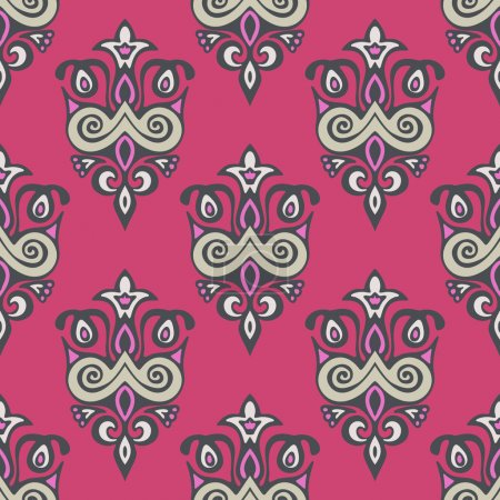 seamless damask  floral vector pattern