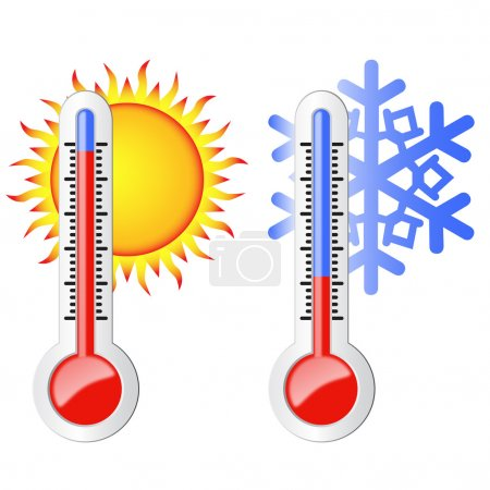 Two thermometers, sun and snowflake