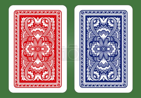 Illustration for Playing Card Back Designs. Blue and red - Royalty Free Image