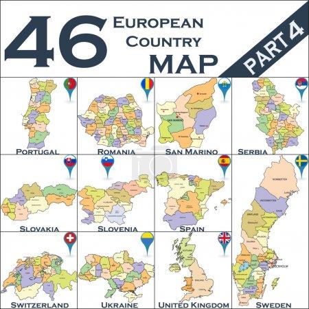 Illustration pour Carte politique européenne avec pointeurs cartographiques - image libre de droit