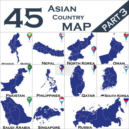Illustration for Asian country set with map pointers - Royalty Free Image