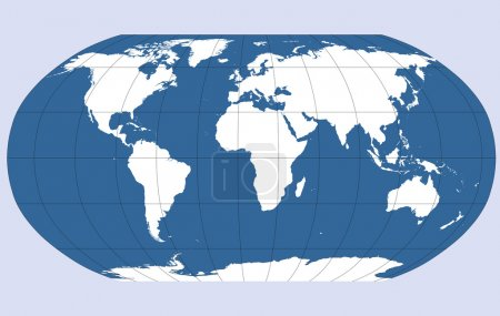 Robinson projection of the world, vector map outli...