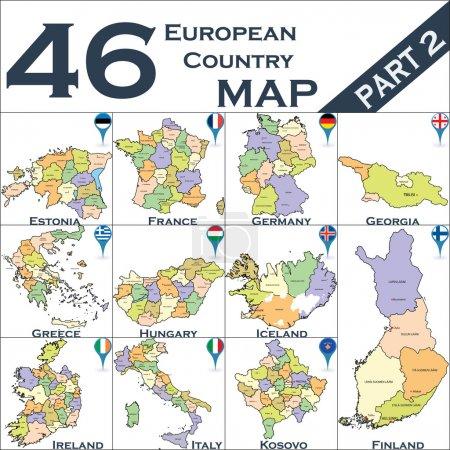 Illustration pour Carte de l'Europe politique sertie de pointeurs de carte - image libre de droit