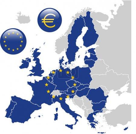 Illustration pour Carte bleue de l'Union européenne - image libre de droit