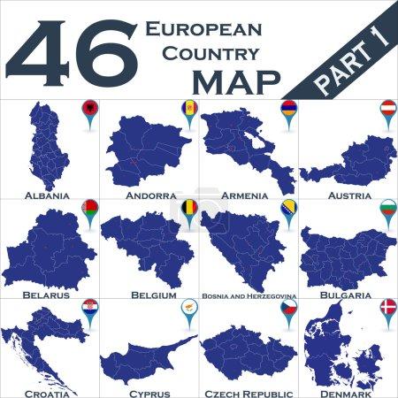 Illustration pour Pays européen avec des pointeurs cartographiques - image libre de droit