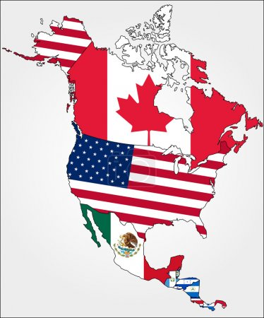 North America Map With  Flags.