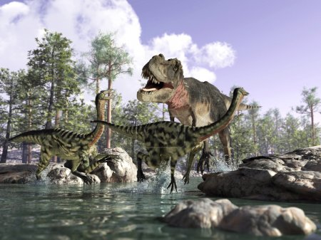 Photorealistic 3 D scene of a Tyrannosaurus Rex, hunting two Gal