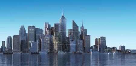 Foto de Paisaje urbano genérico con edificios modernos y rascacielos en el agua. Temprano en la mañana, o tarde luz . - Imagen libre de derechos