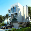 Modern building exterior with garden and trees. Wi...