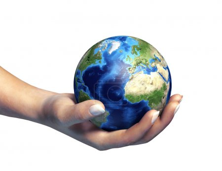 Photo pour Main humaine tenant la planète Terre, sur fond blanc. Chemin de coupe inclus . - image libre de droit