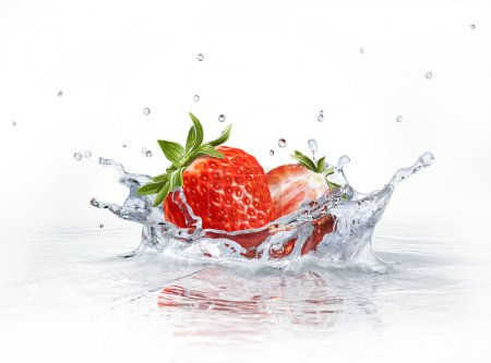 Photo for Strawberries falling into clear water, forming a crown splash. Viewed from a side, with white background. - Royalty Free Image