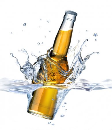Clear Beer bottle falling into water, forming a crown splash. Vi