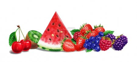 Various fruit composition, on white background. Airbrush illustration