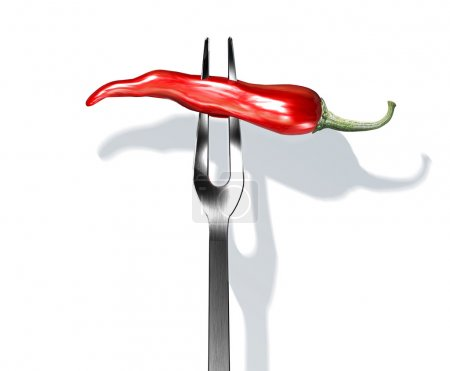 Red chili pepper on fork.