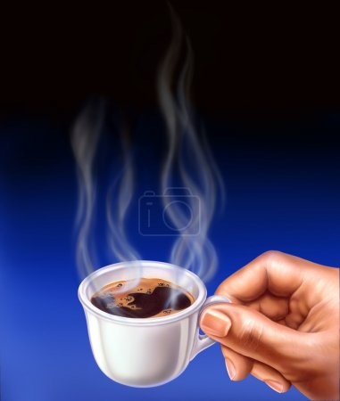 Photo for Espresso cup, held by a man hand. Close up airbrush illustration. Smoke is coming up from the cup. - Royalty Free Image
