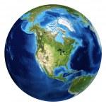 Earth globe, realistic 3 D rendering. North Americ...