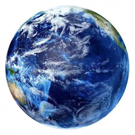 Photo pour Planète terre avec quelques nuages. vue sur l'océan Pacifique. sur fond blanc. - image libre de droit