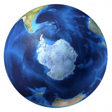 Photo pour Globe terrestre, d rendu réaliste 3. vue de l'Antarctique (pôle Sud). sur fond blanc. - image libre de droit