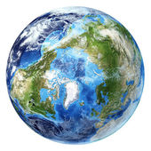Země světa, realistické 3 d vykreslování s přívalovými srážkami