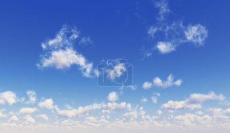 Foto de Cielo azul con nubes blancas esponjosas. Formato ancho. Imagen generada por ordenador . - Imagen libre de derechos