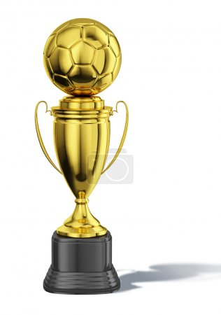 Trophy cup, with a soccer ball at the top.