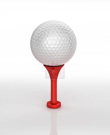 Foto de 3D representación digital de una pelota de golf colocada en tee, sobre superficie blanca, con trazado de recorte. - Imagen libre de derechos