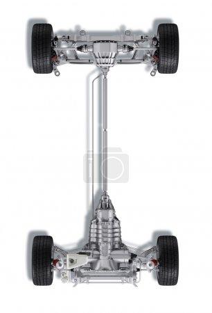 Photo pour Sous chariot rendu technique 3 D, d'une berline générique contemporaine. Sur fond blanc, avec chemin de coupe . - image libre de droit