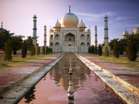 Photo for Taj Mahal at sunset time, view from front. - Royalty Free Image