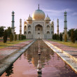 Taj Mahal at sunset time, view from front....