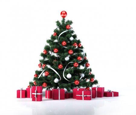 Photo pour Arbre de Noël avec des boules d'or et de la décoration. en dessous, il y a plusieurs paquets cadeaux, toute rouge avec rubans argent. rendu numérique 3 d, sur fond blanc légèrement réfléchissant de surface et blanc. - image libre de droit