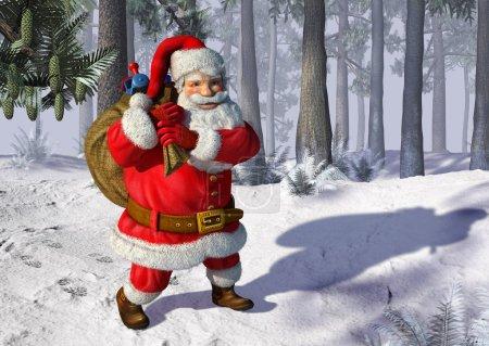 Photo pour Illustration du Père Noël marchant sur la neige, avec des arbres en arrière-plan . - image libre de droit