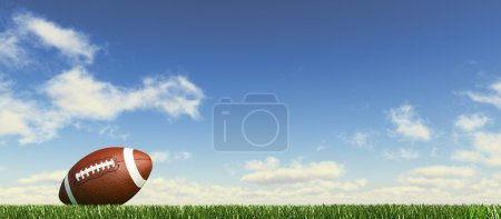 Photo for American football ball, on the grass, with fluffy couds sky in the background. Side view, from ground level, panoramic format. - Royalty Free Image