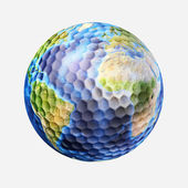 Golf ball isolated on white background, with earth planet map. (