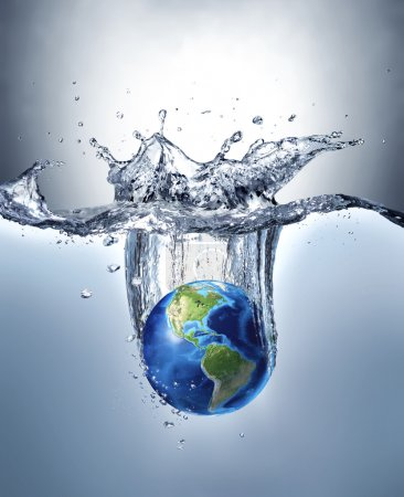 Planet Earth, splashing into water.