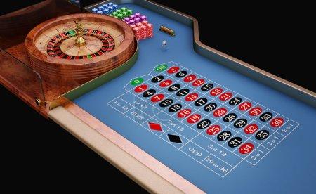 Roulette table close up view. Blue felt....