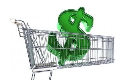 Photo for Supermarket trolley with big Dollar sign inside it. Side view on white background. - Royalty Free Image