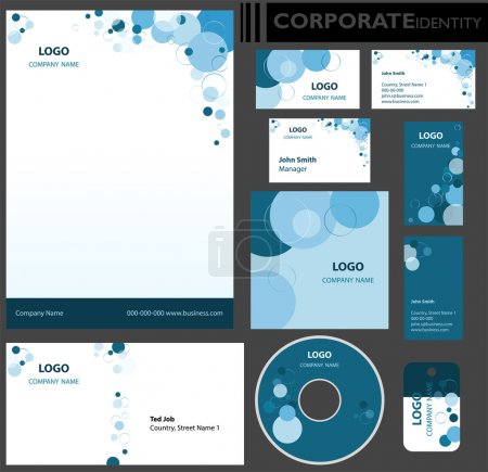 Illustration for Corporate identity template. Editable set. Design including business paper, cards, ID, CD, envelope and key chain. Vector illustration. - Royalty Free Image