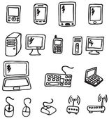 Vector hand drawn electronics icons