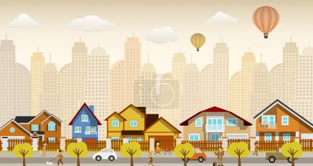 Illustration for Vector illustration of suburb (houses, , cars,..) - Royalty Free Image