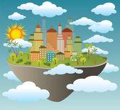 Vector illustration of flying city