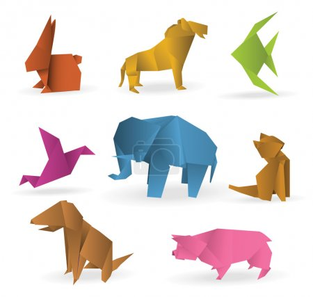 Illustration for Vector illustration of colorful origami animals - Royalty Free Image