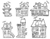 Vector handdrawn illustration of 6 cartoon buildings