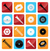 Vector industrial buttons (tooth wheels screws circular saw)