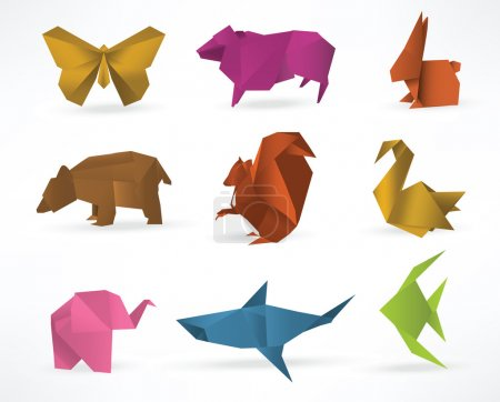 Illustration for Vector illustration of origami animals - Royalty Free Image