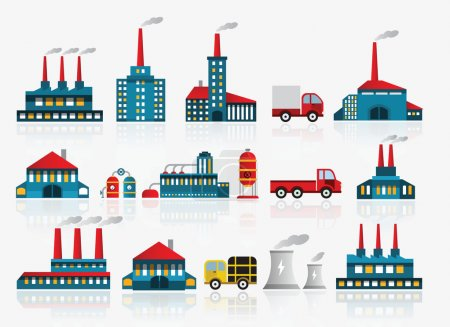 Illustration for Vector illustration of factory symbols - Royalty Free Image