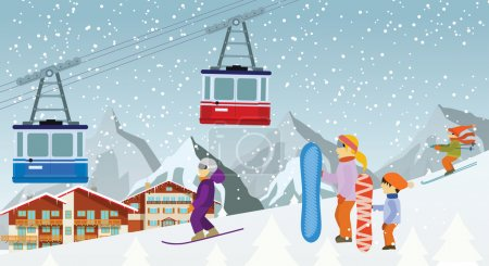 Skiing and snowboarding in the mountains