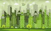 Vector illustration of simple modern green city