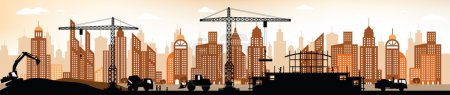 Illustration for Vector illustration - making the new building in the city - Royalty Free Image