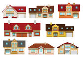 Vector illustration of simple colorful city houses collection