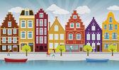 Vector illustration of european city street (Amsterdam)